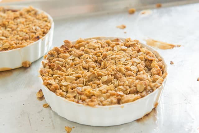 Crumbly Oat Crisp Topping for Apple Crisp In A White Ridged Dish
