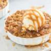 Caramel Apple Crisp Dessert on a Sheet Pan with Ice Cream and Caramel Sauce