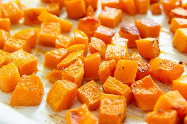 Roasted Butternut Squash Cubes on Parchment