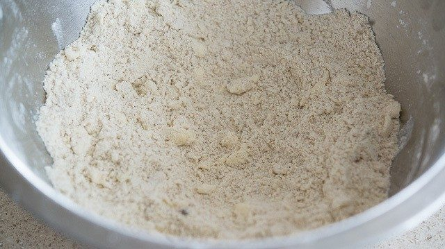 Bits of Cold Butter Worked Into Dry Ingredients