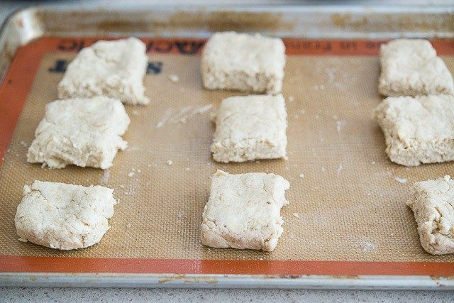Squares of Scone Dough Separated on Baking Mat