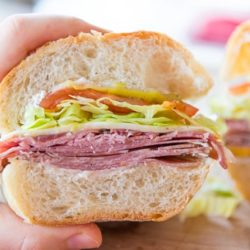 Italian Sandwich Held By Hand to Show Interior View with Meats and Filling