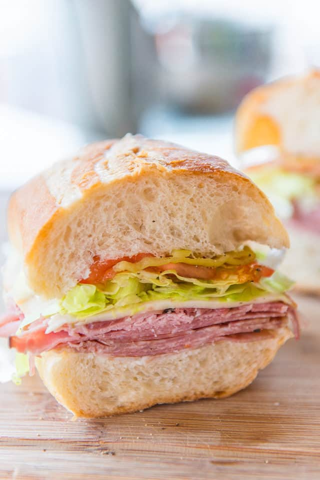 Salami Sandwich - with Big Fluffy Bread, Pepperoncini, Lettuce, Tomato in Filling