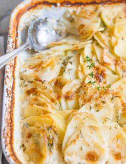 Potato Gratin - In Casserole Dish with Spoon