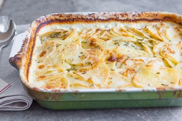 Easy and Delicious Potato Gratin Recipe - Side Dish with Gruyere, Parmesan, Garlic, and Thyme