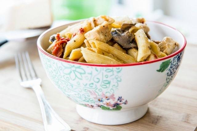 Penne Pasta with Mushrooms, Chicken, and Sun-dried Tomatoes. A super quick recipe for dinner tonight!