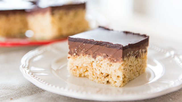Marshmallow Squares on Plate with Peanut Butter and Chocolate Ganache