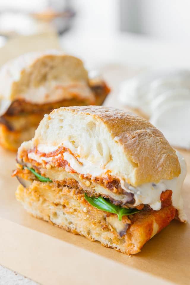 Eggplant Parmesan Sandwiches #eggplant #eggplantparmesan #eggplantparm #sandwich #recipe