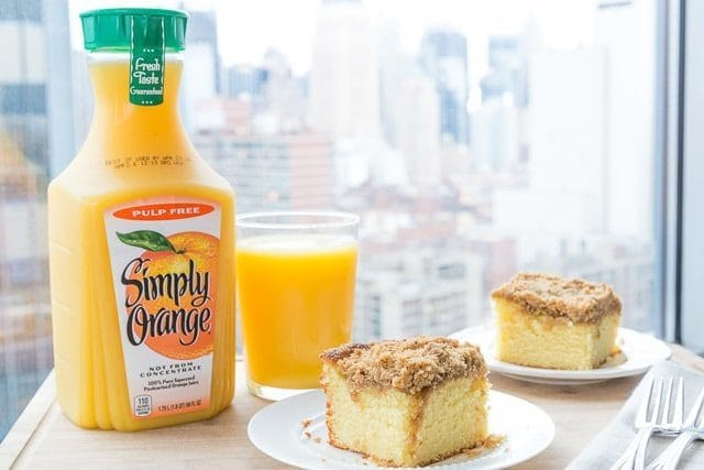 Replacing milk with orange juice in this Cinnamon Streusel Topped Coffee Cake gives it a bright, citrusy flavor! Perfect for breakfast or brunch.