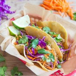 Two Slow Cooker Asian Pork Tacos in Red Basket