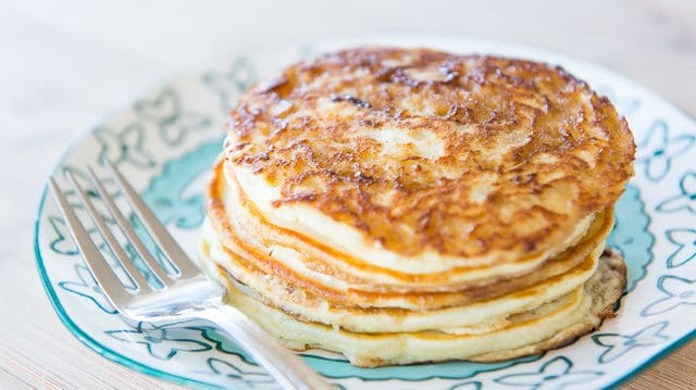 Cinnamon Pancakes Stacked on Blue Plate