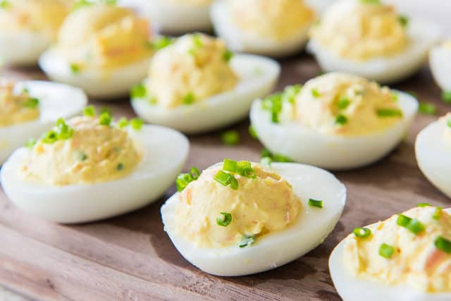 Deviled Eggs with Salmon - Mixed Into the Filling and Garnished with chive