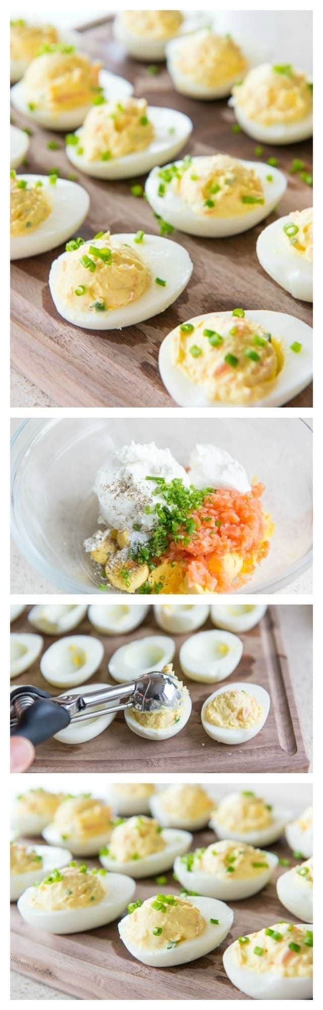 A bunch of different steps of making smoked salmon deviled eggs, shown in succession