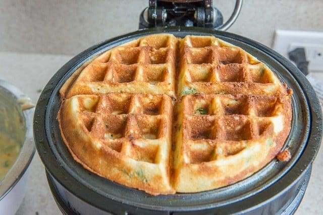 Cheddar Scallion Waffles with Bacon