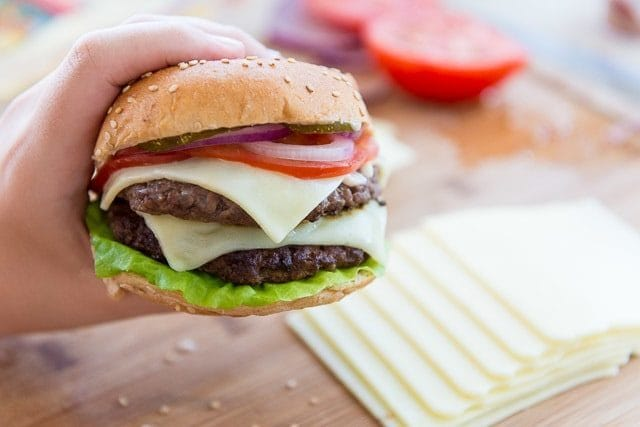 This Double Decker Burger will satisfy your burger cravings!