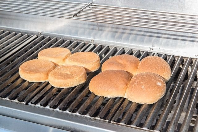 Split Hamburger Buns on a Grill