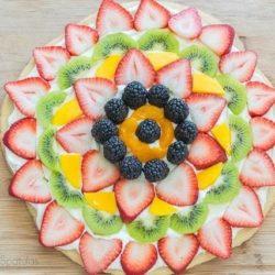 Fruit Pizza - With Strawberry Slices, Kiwi, Mango, Blackberries, and Mandarins