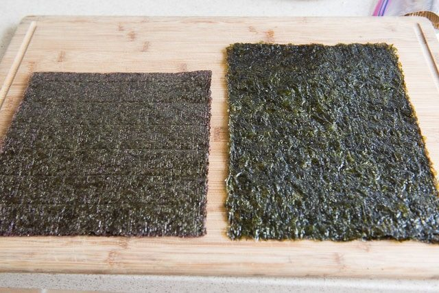 Two Sheets of Seaweed on Wooden Board