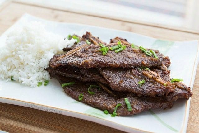 Kalbi - On a Platter with Green Onion and Rice