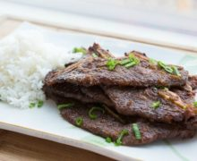 Korean Kalbi Beef on a Platter with Rice