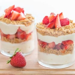 Strawberry Parfait - in glasses with Fresh Strawberries, Cheesecake Layers, and Graham Crackers