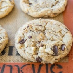 White and Dark Chocolate Chunk Cookies on Silicone Mat