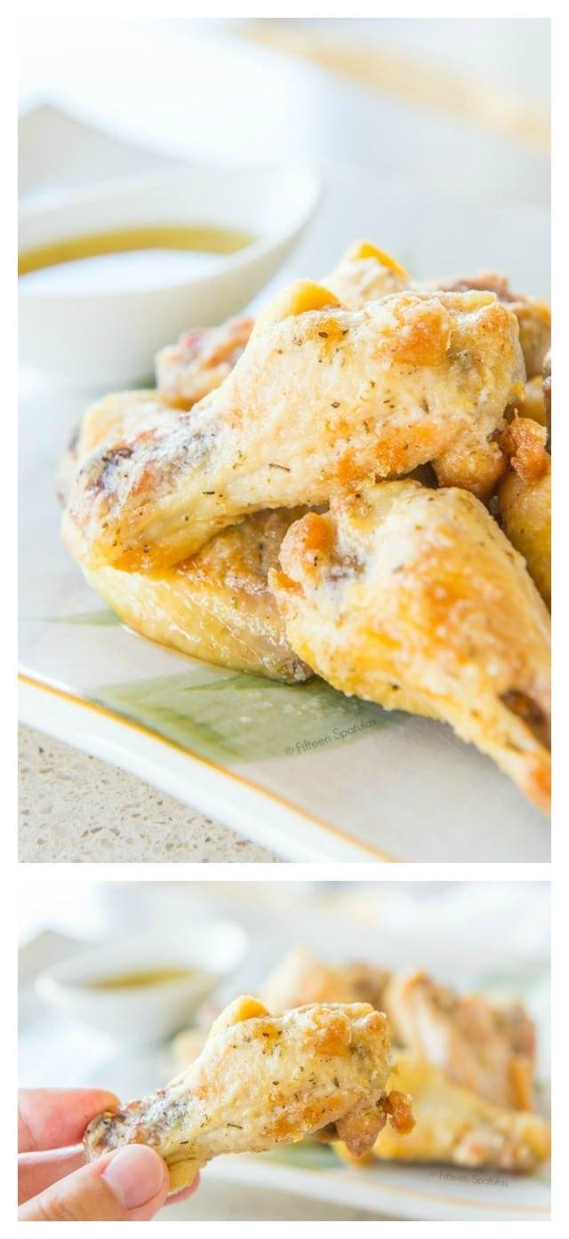 Garlic Parmesan Chicken Wings - #chickenwings #garlicparmesan #wings #footballfood