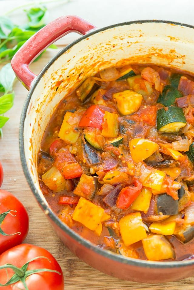 Ratatouille - Shortcut Recipe with Zucchini, Bell Pepper, and More Served in Red Dutch Oven
