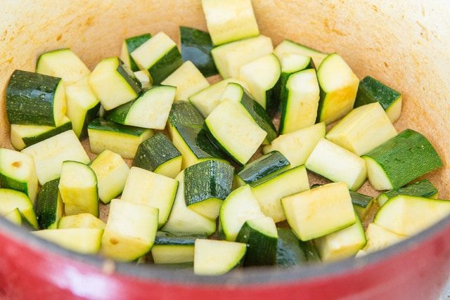 Cut Green Zucchini for Cooking in Stew