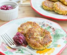 Zucchini Chickpea Fritters with Red Onion Marmalade from Pure Delicious