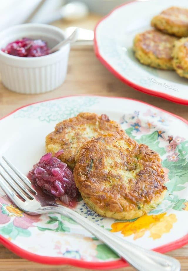 Zucchini Chickpea Fritters with Red Onion Marmalade on Plate with Fork