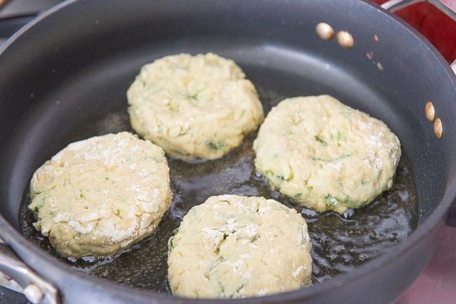Frying the Zucchini Chickpea Patties in Oil in Skillet