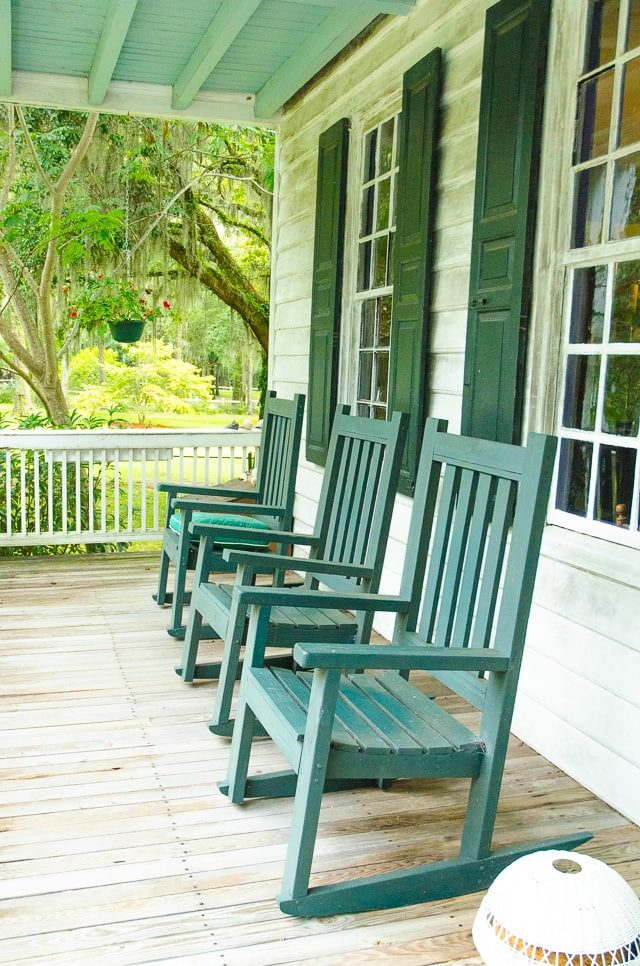 Green Rocking Chairs on a Porch