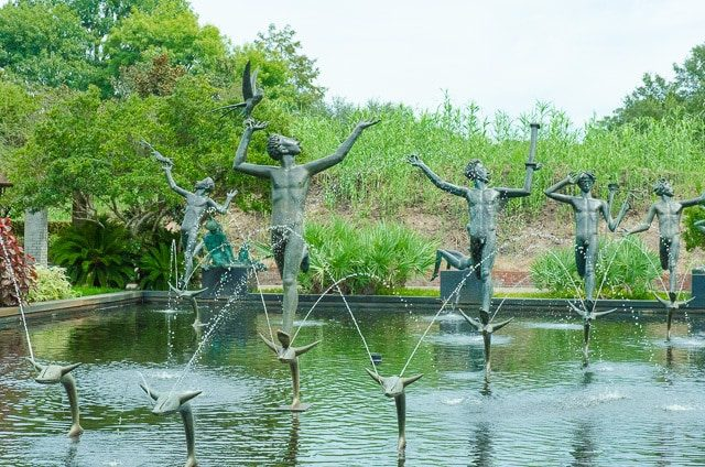 Statues in Water with Fountains