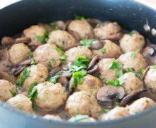 Baked Turkey Meatballs with a Red Wine Mushroom Sauce