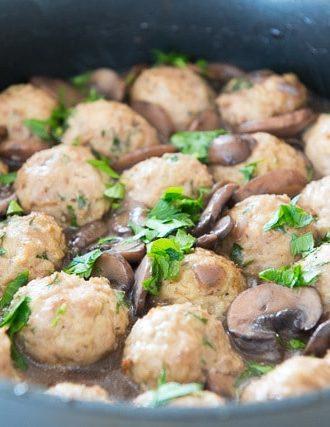 Baked Turkey Meatballs with Mushroom Sauce