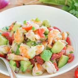 Shrimp Avocado Tomato Salad in Bowl with Spoon