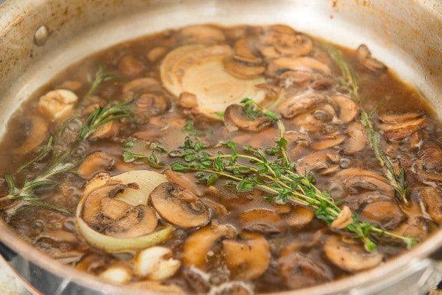 Beef Mushroom Sauce with Herbs in Skillet