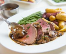 So easy, so delicious! Roasted Beef Tenderloin with Mushroom Pan Sauce