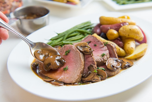 Roasted Beef Tenderloin with Mushroom Pan Sauce