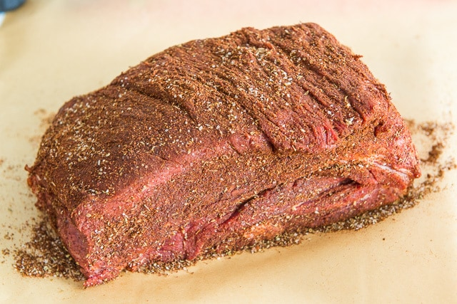 Chuck Roast Rubbed with Spices on Parchment