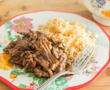 5 minutes of prep! Slow Cooker Shredded Mexican Beef is great for dinner with a side of Mexican rice.