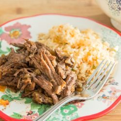 Slow Cooker Mexican Shredded Beef on Plate