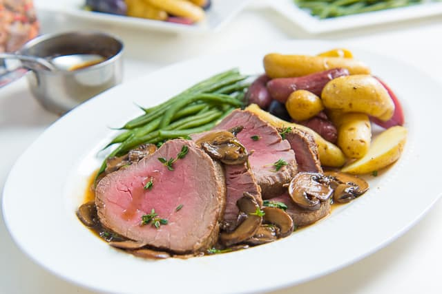 Beef Tenderloin Recipe - Served with Baby Bella Mushrooms and Pan Sauce