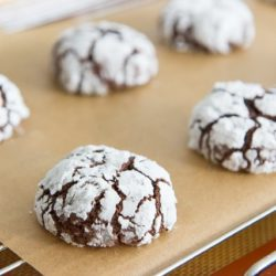 Chocolate Crinkle Cookies In Rows On Parchment Paper