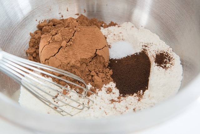 Cocoa Powder, Coffee Powder, Salt, and Flour in Mixing Bowl