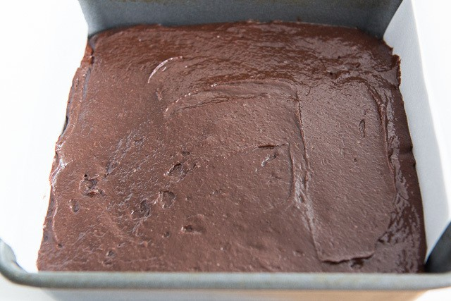 Coconut Oil Brownie Batter Spread into 8x8 Pan