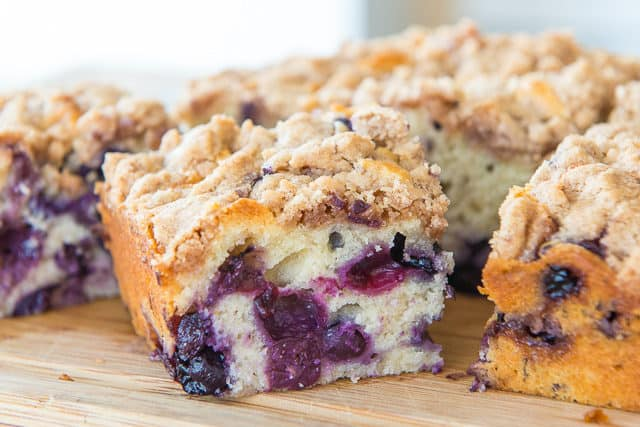 Blueberry Buckle Cake - on a Wooden Board with Crumb Topping
