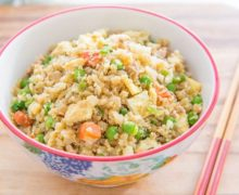 Healthy dinner in 15 minutes! This Cauliflower Fried Rice with Chicken is the perfect weeknight meal, and it's loaded with protein, veggies, and flavor!
