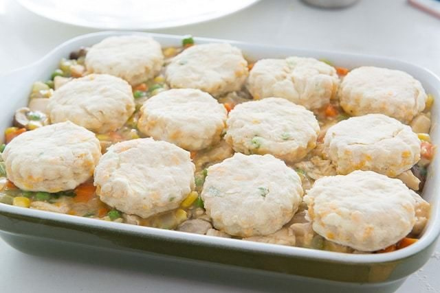Cheddar Biscuits On Top of Unbaked Barbecue chicken Pie Filling